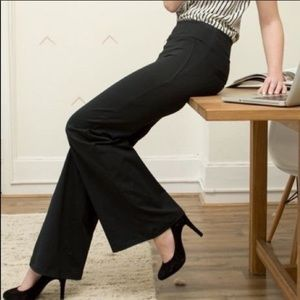 Betabrand Dress Pant Yoga Pants Wide Leg Black